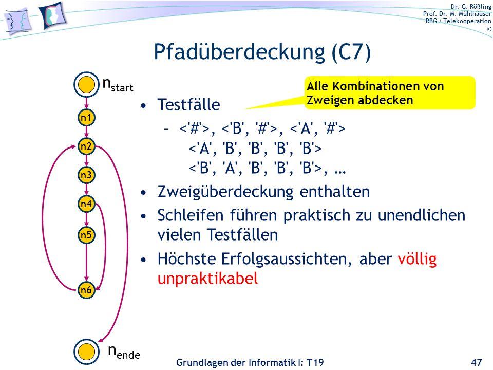 Pfadüberdeckung (C7) nstart Testfälle