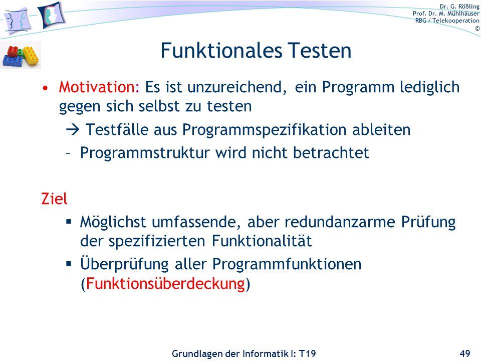 Funktionales Testen Motivation: Es ist unzureichend, ein Programm lediglich gegen sich selbst zu testen.