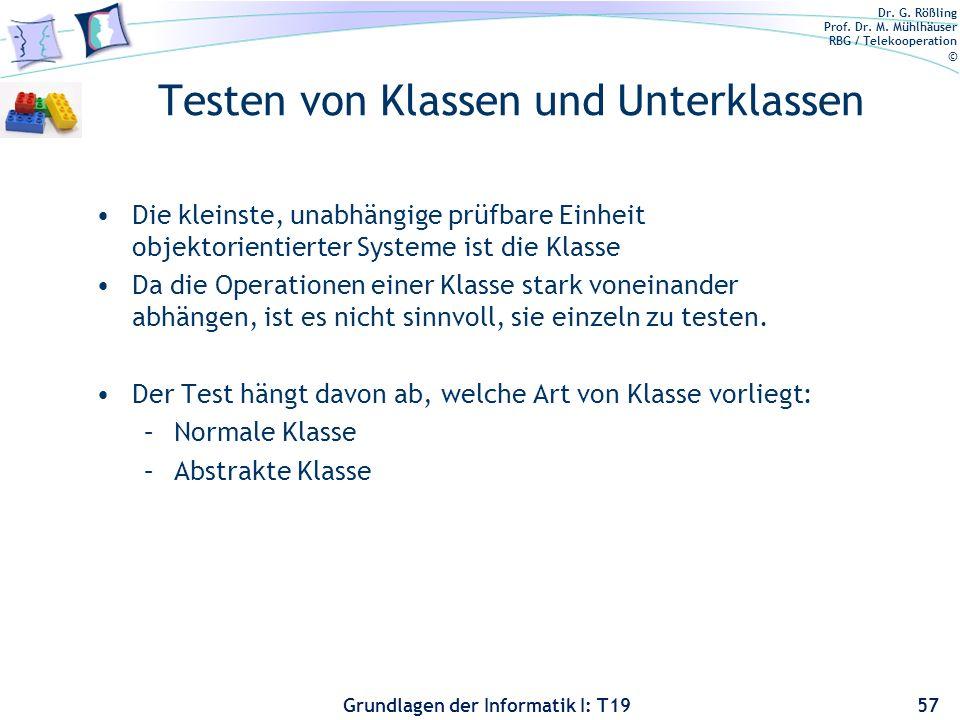 Testen von Klassen und Unterklassen