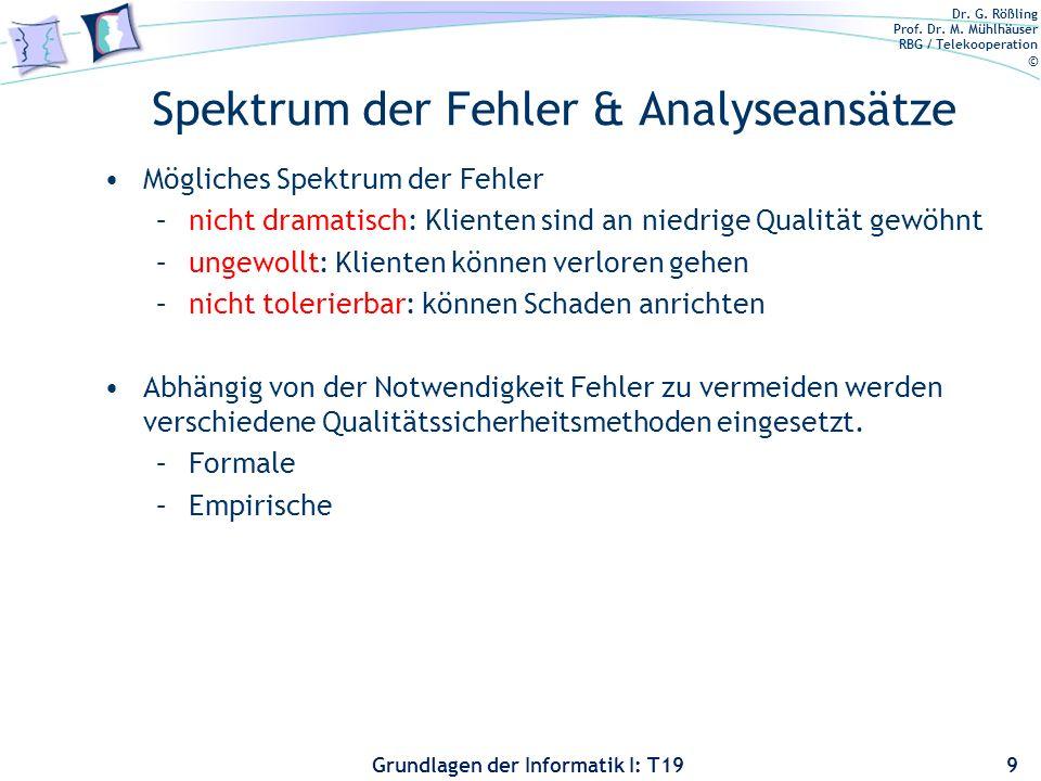 Spektrum der Fehler & Analyseansätze