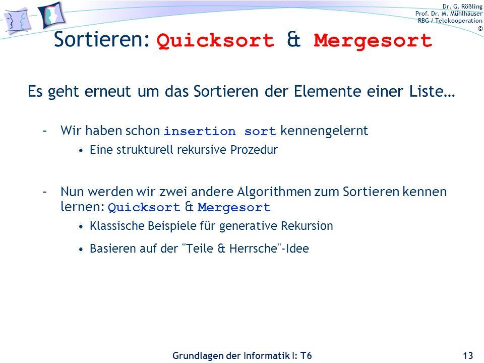 Sortieren: Quicksort & Mergesort