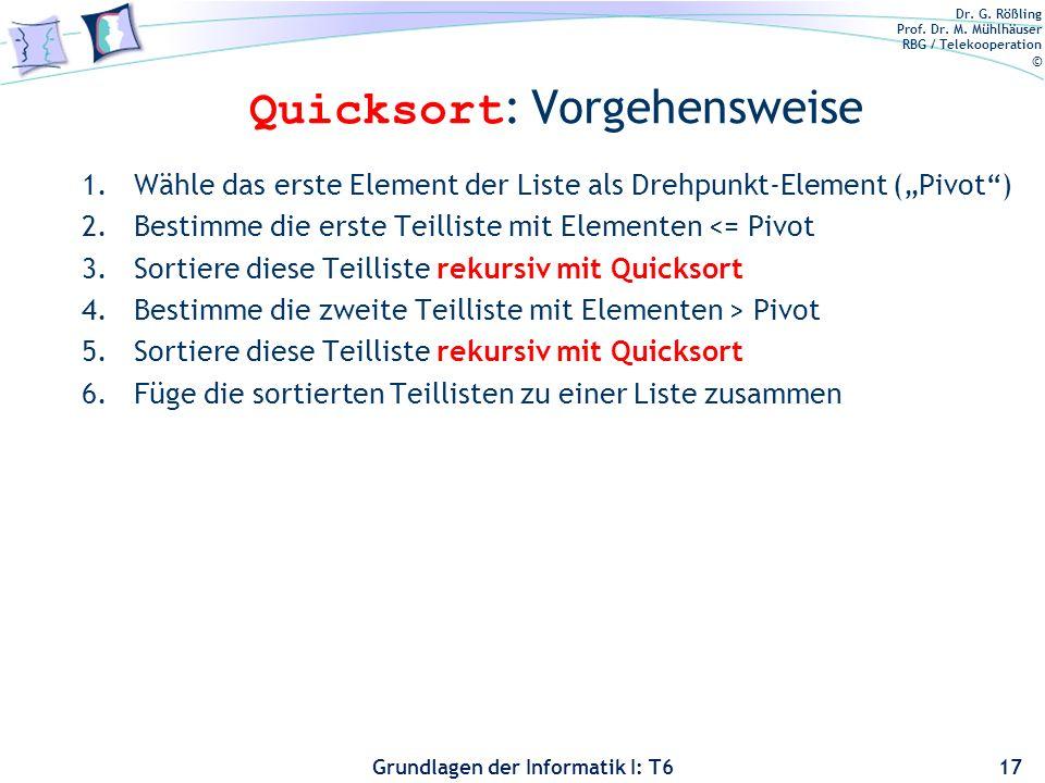 Quicksort: Vorgehensweise