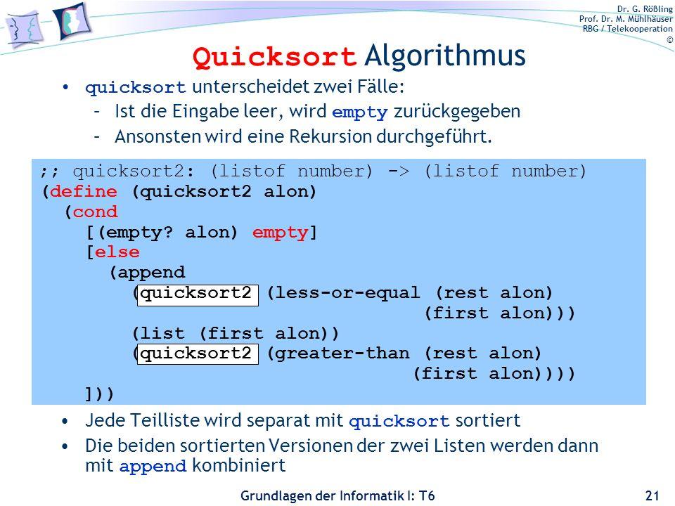 Quicksort Algorithmus
