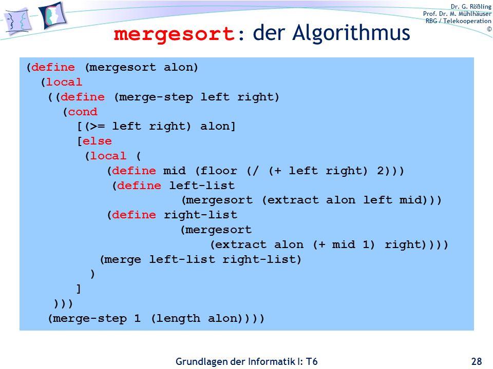 mergesort: der Algorithmus