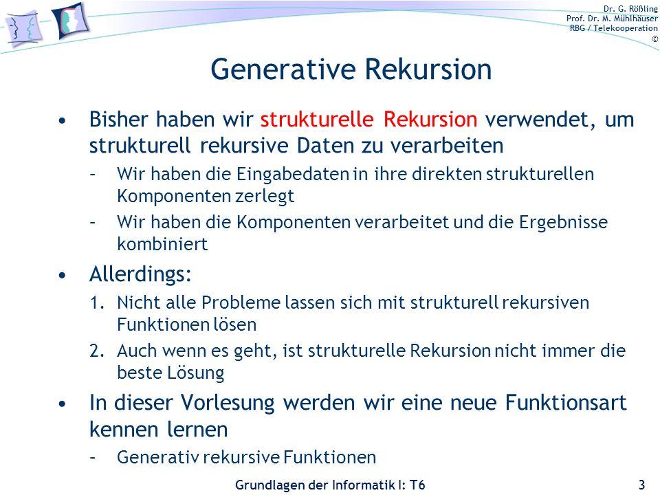 Generative Rekursion Bisher haben wir strukturelle Rekursion verwendet, um strukturell rekursive Daten zu verarbeiten.