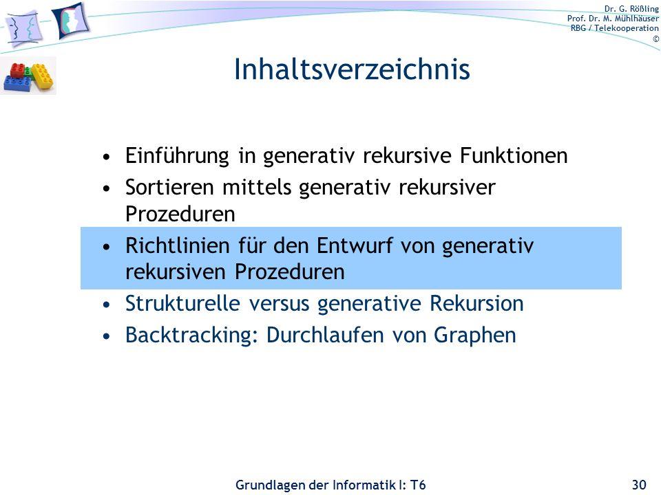 Inhaltsverzeichnis Einführung in generativ rekursive Funktionen