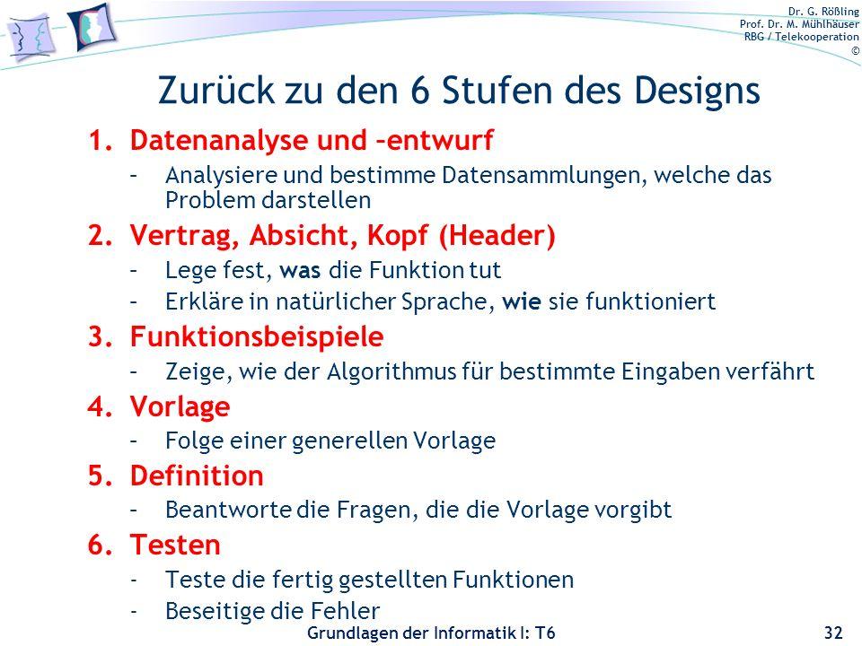 Zurück zu den 6 Stufen des Designs