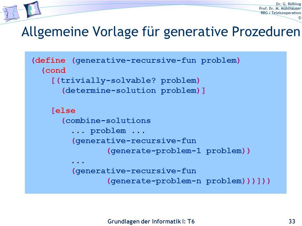 Allgemeine Vorlage für generative Prozeduren