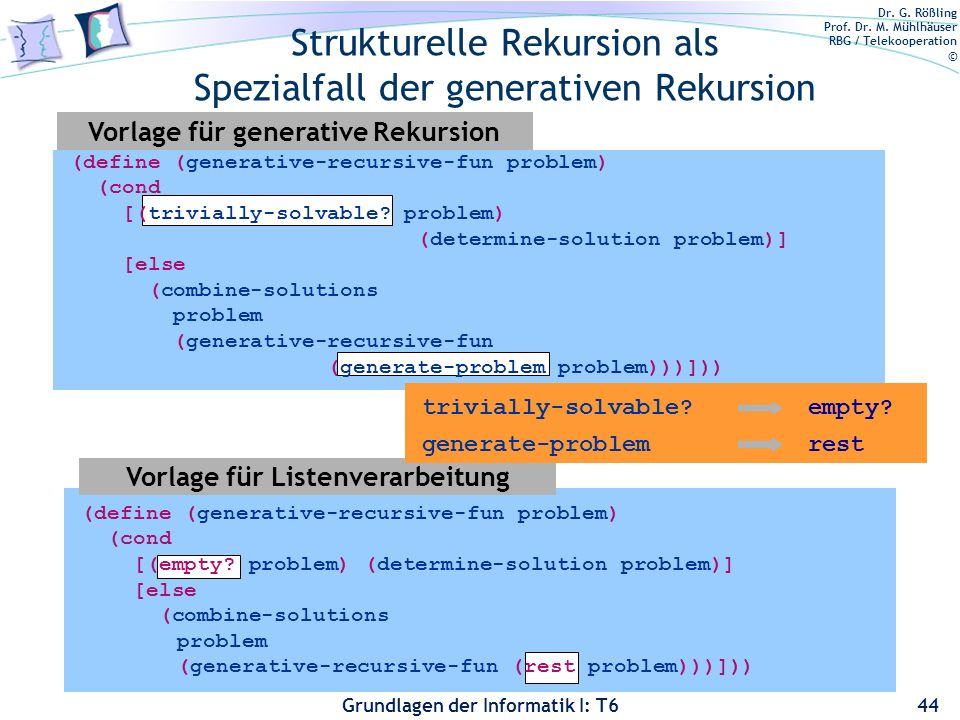 Strukturelle Rekursion als Spezialfall der generativen Rekursion