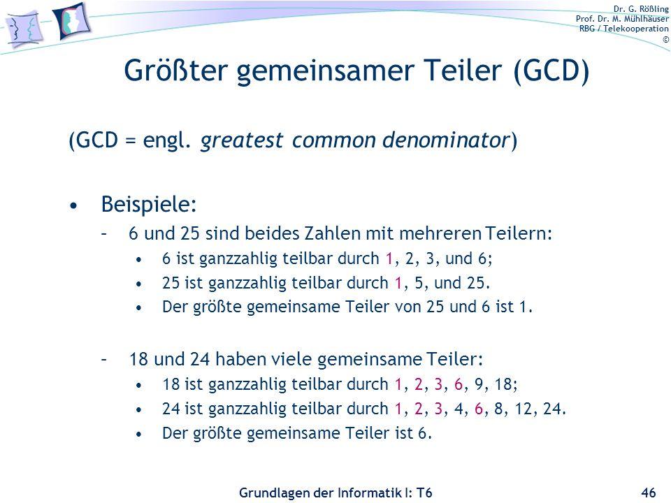Größter gemeinsamer Teiler (GCD)