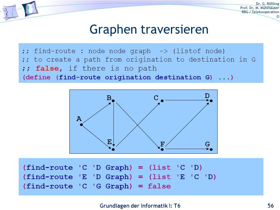 Graphen traversieren ;; false, if there is no path A B E C F D G