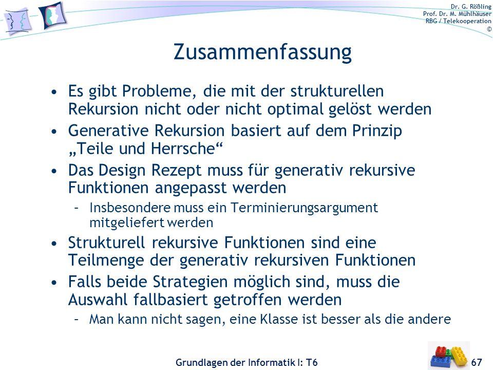 Zusammenfassung Es gibt Probleme, die mit der strukturellen Rekursion nicht oder nicht optimal gelöst werden.