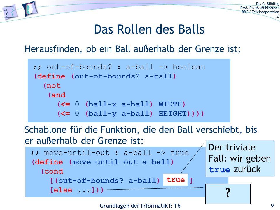 Das Rollen des Balls Herausfinden, ob ein Ball außerhalb der Grenze ist: