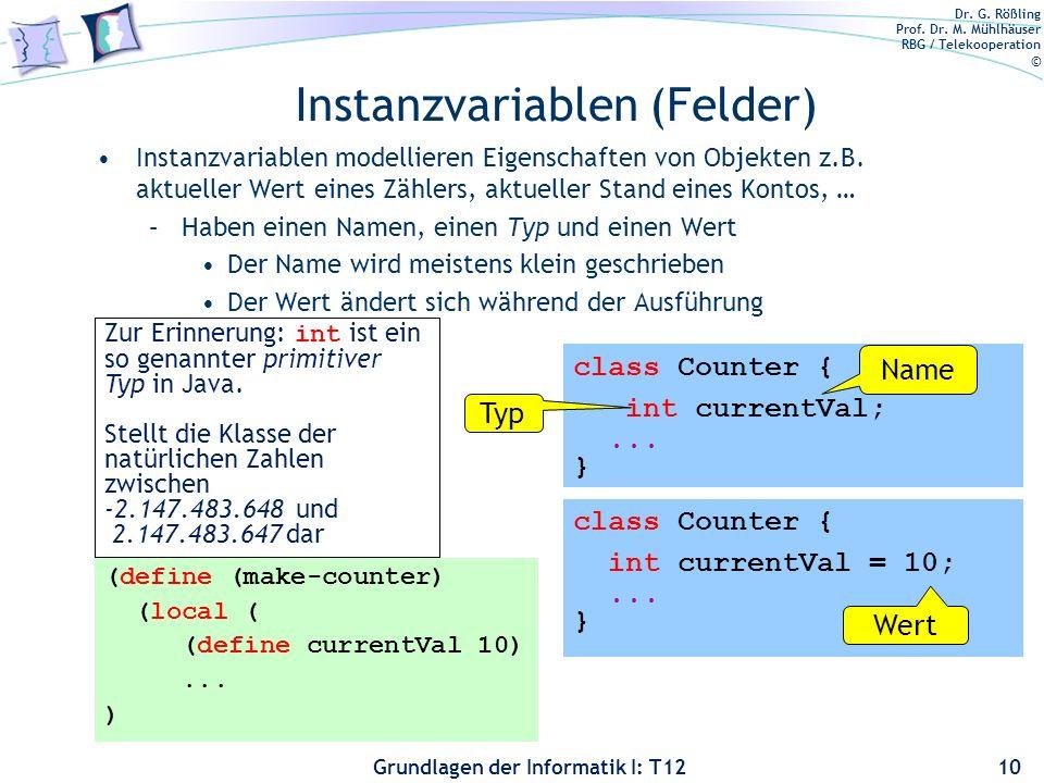 Instanzvariablen (Felder)