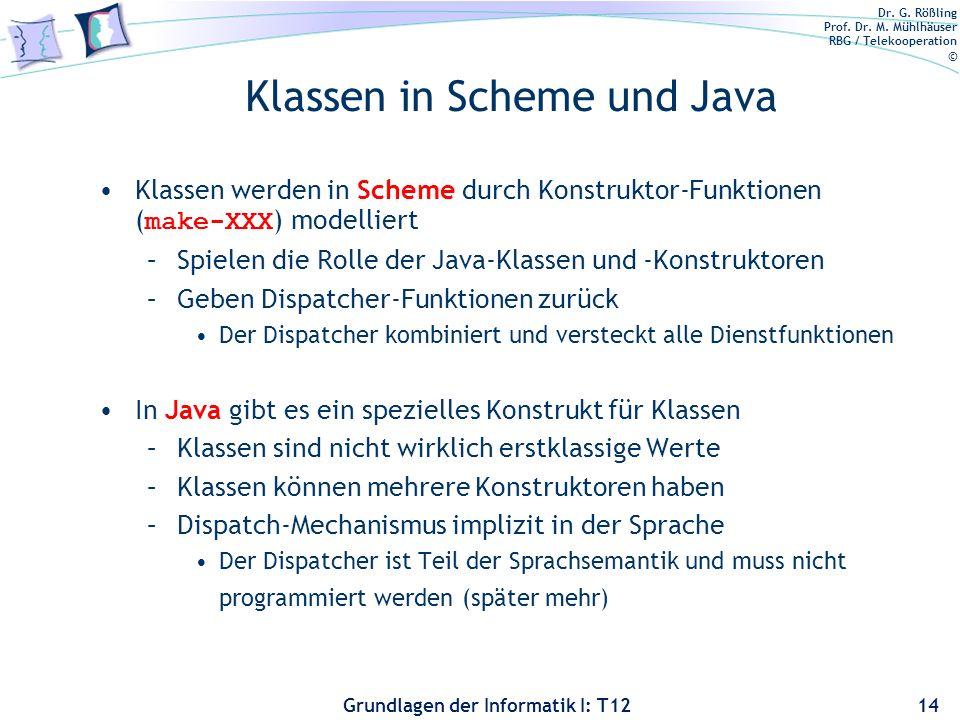 Klassen in Scheme und Java