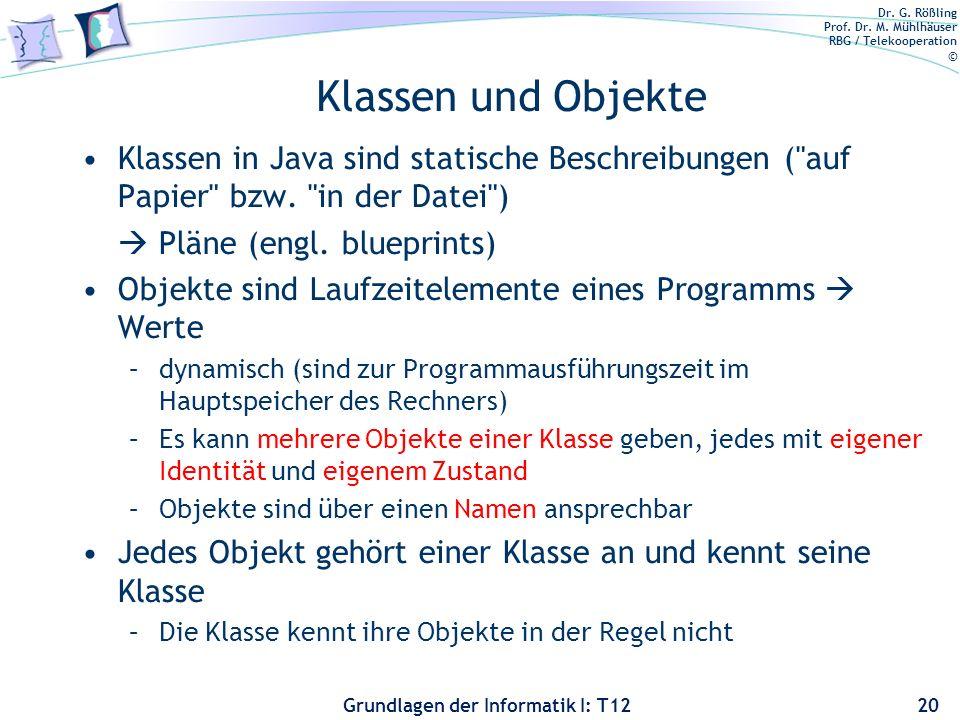 Klassen und Objekte Klassen in Java sind statische Beschreibungen ( auf Papier bzw. in der Datei )