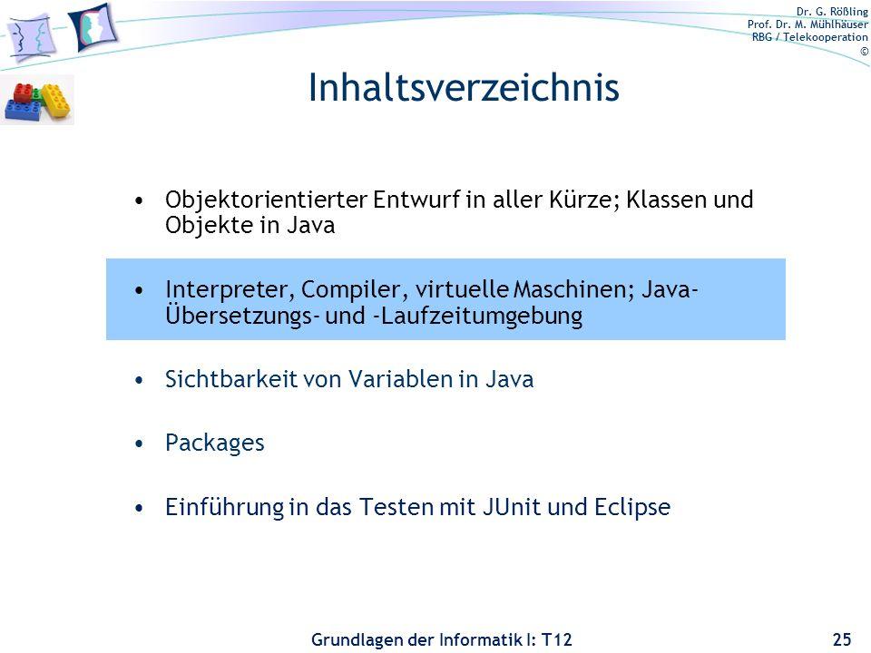 Inhaltsverzeichnis Objektorientierter Entwurf in aller Kürze; Klassen und Objekte in Java.