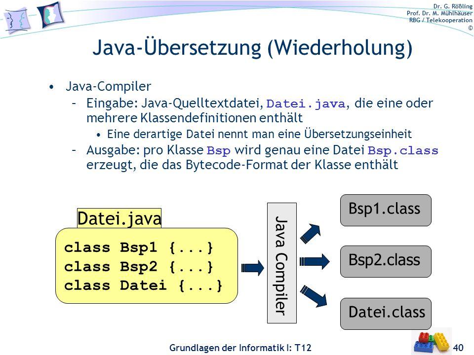 Java-Übersetzung (Wiederholung)
