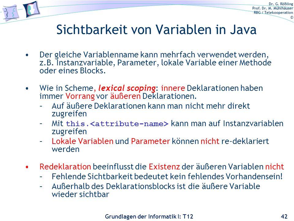 Sichtbarkeit von Variablen in Java