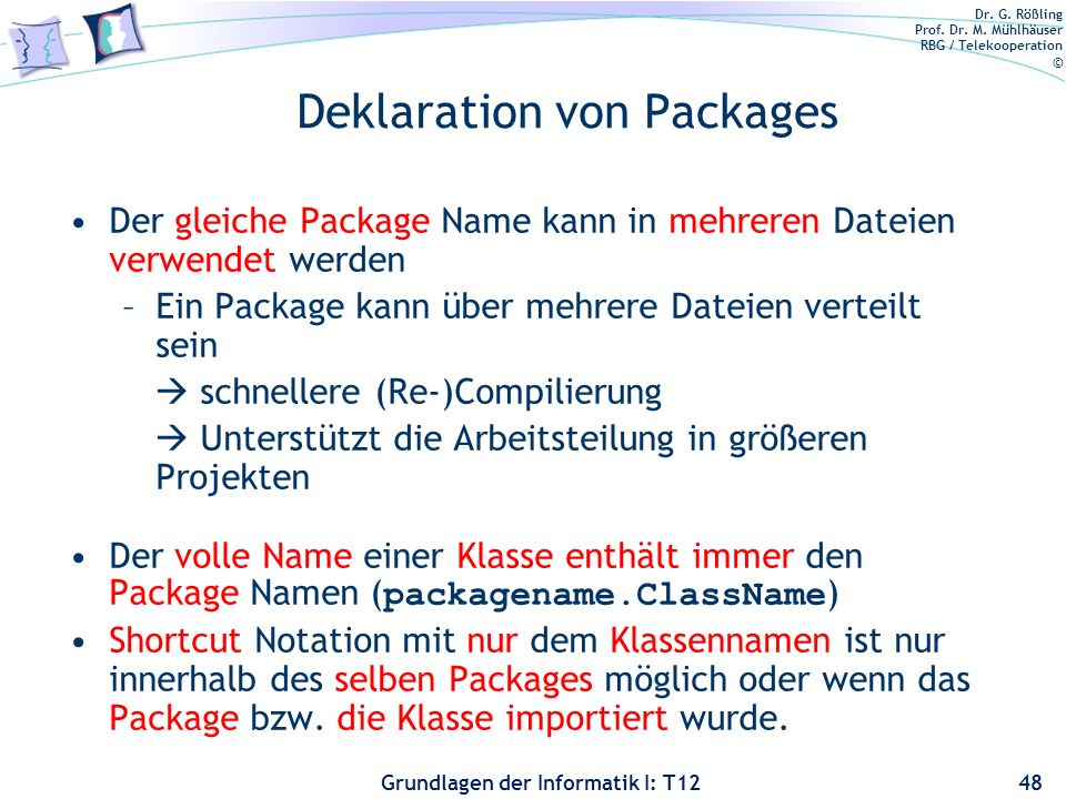 Deklaration von Packages