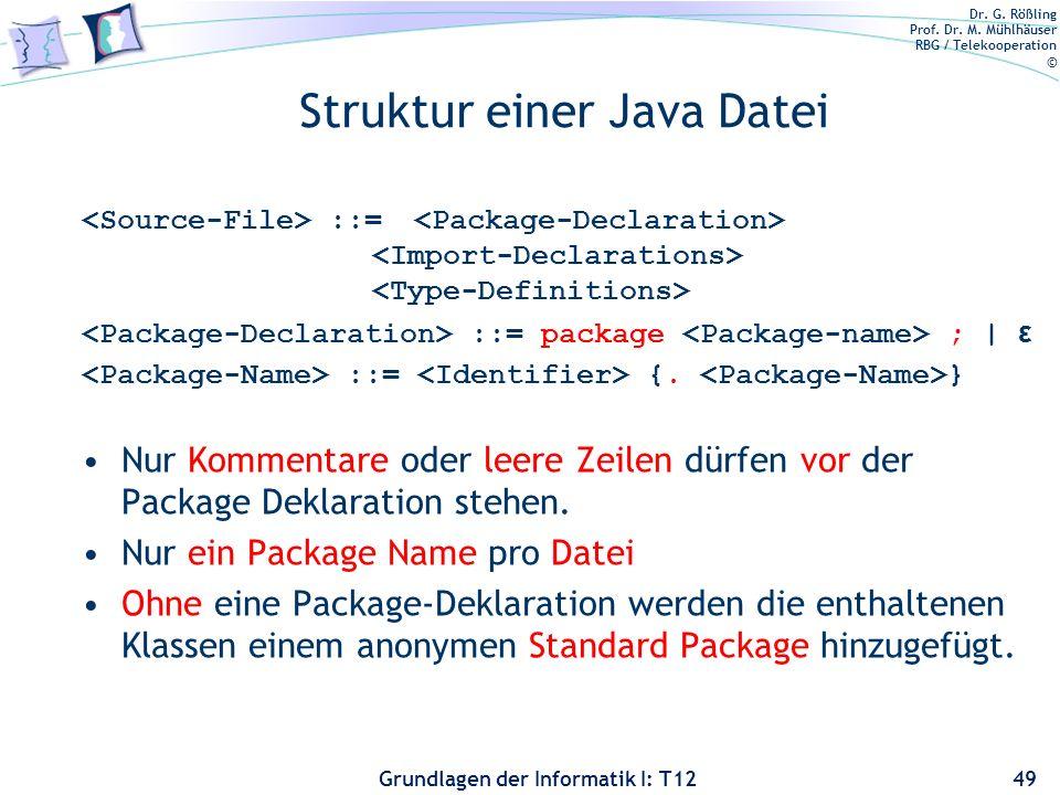 Struktur einer Java Datei