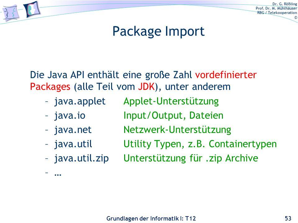 Package Import Die Java API enthält eine große Zahl vordefinierter Packages (alle Teil vom JDK), unter anderem.