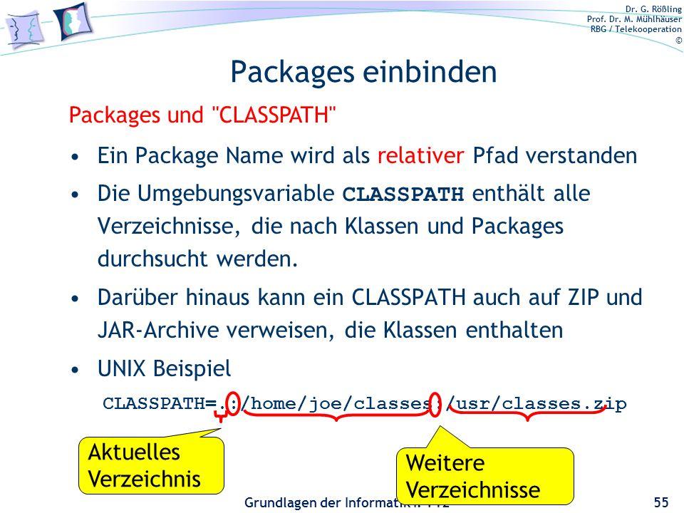 Packages einbinden Packages und CLASSPATH