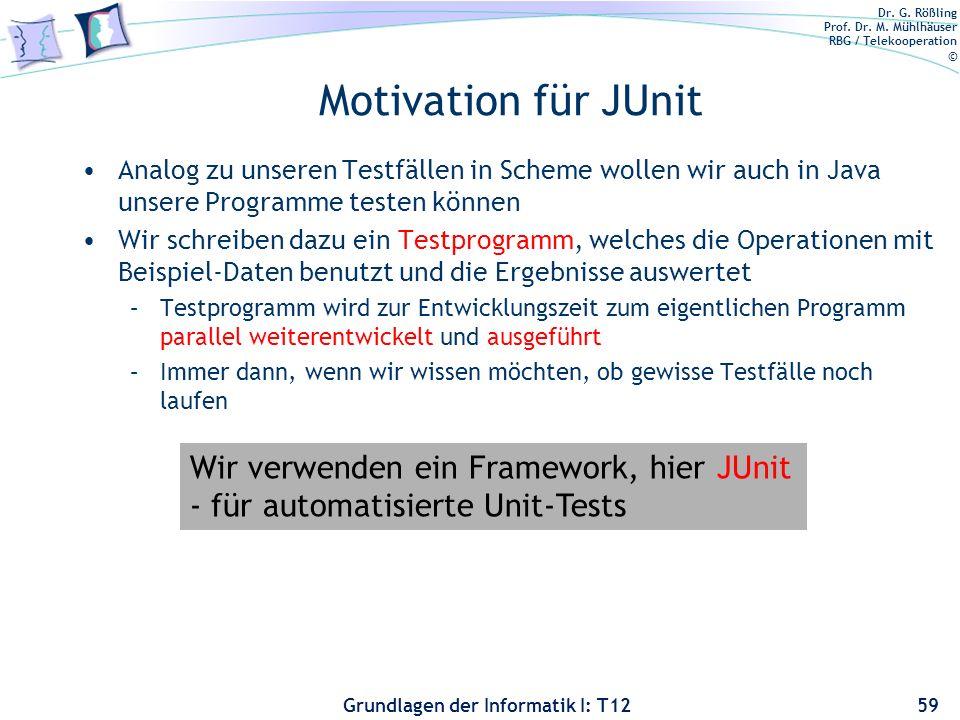 Motivation für JUnit Wir verwenden ein Framework, hier JUnit