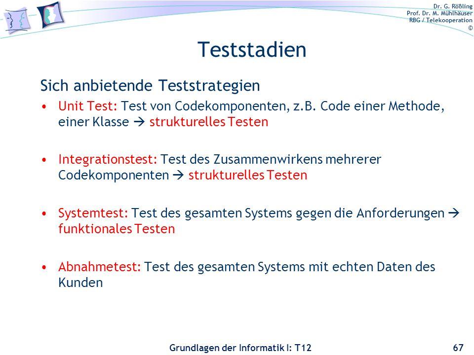 Teststadien Sich anbietende Teststrategien