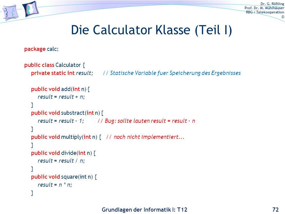 Die Calculator Klasse (Teil I)