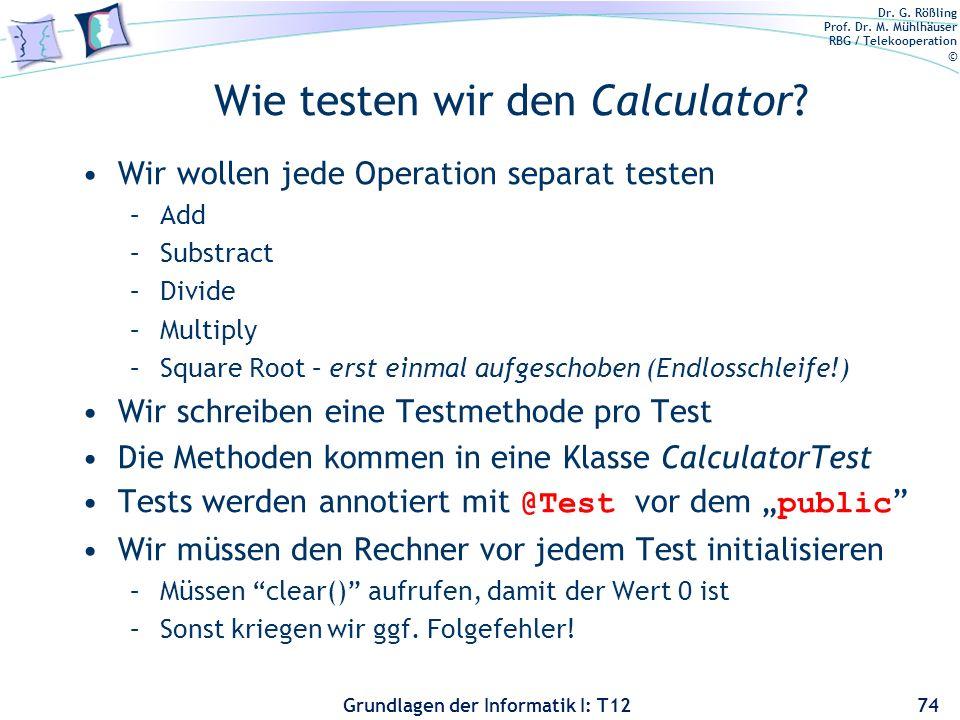 Wie testen wir den Calculator