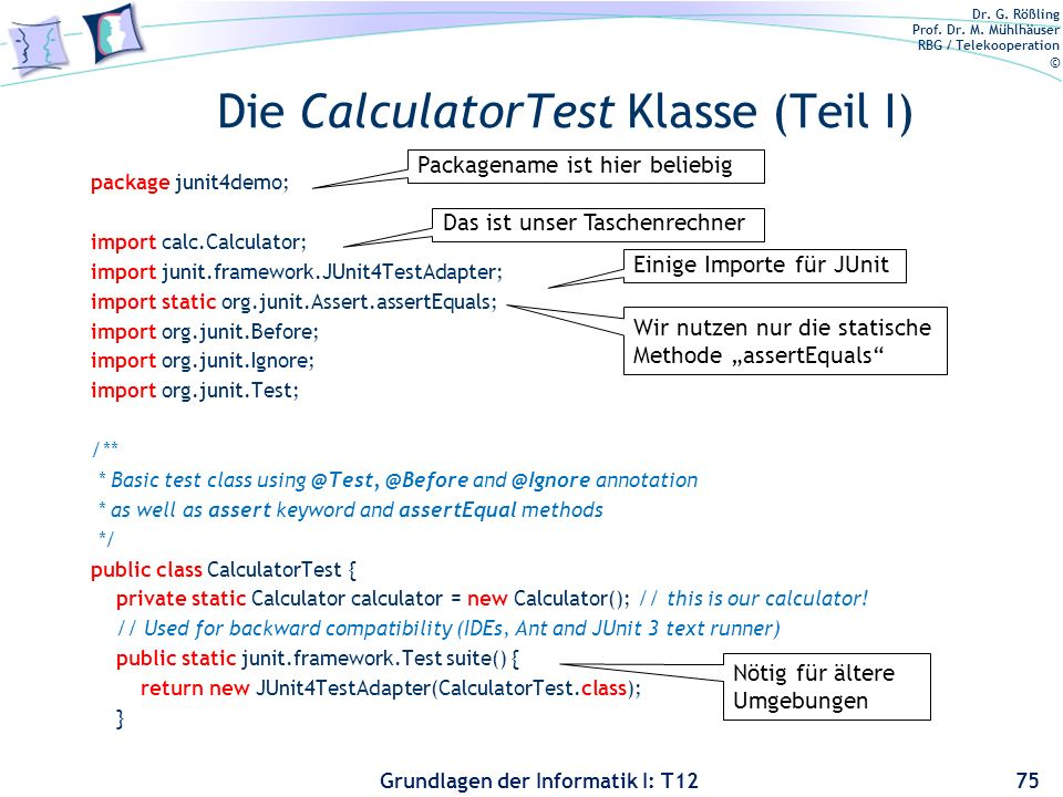 Die CalculatorTest Klasse (Teil I)