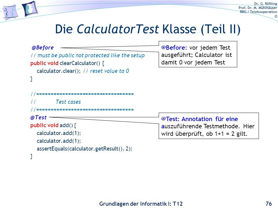 Die CalculatorTest Klasse (Teil II)