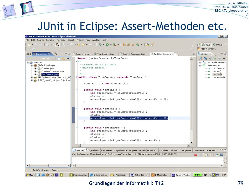 JUnit in Eclipse: Assert-Methoden etc.