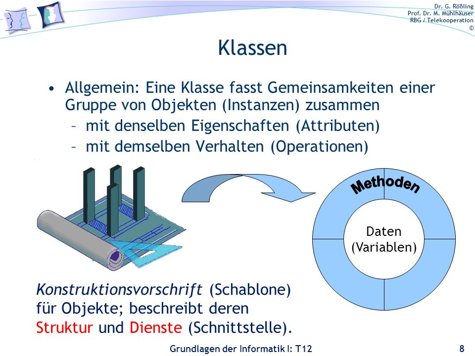 Klassen Allgemein: Eine Klasse fasst Gemeinsamkeiten einer Gruppe von Objekten (Instanzen) zusammen.