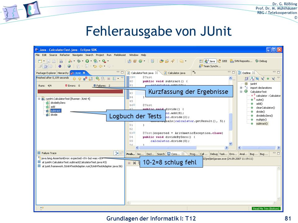 Fehlerausgabe von JUnit