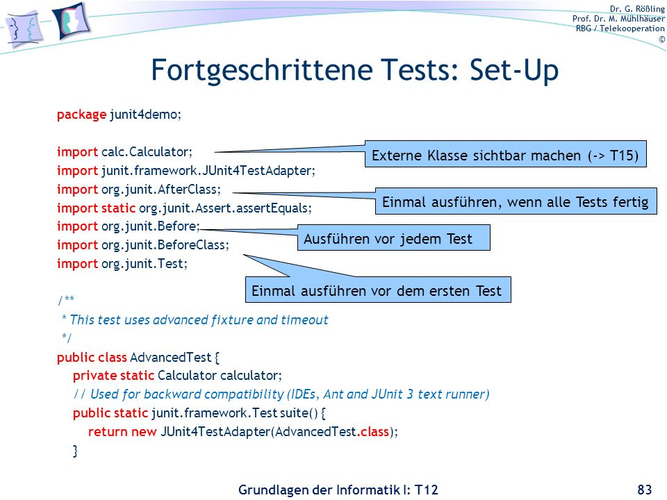 Fortgeschrittene Tests: Set-Up