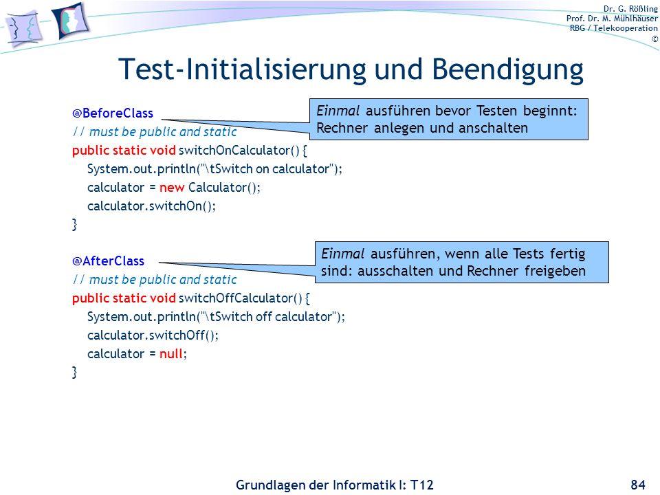 Test-Initialisierung und Beendigung
