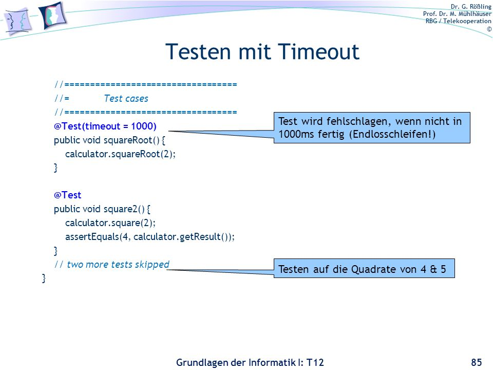 Testen mit Timeout