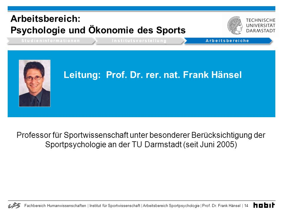 Leitung: Prof. Dr. rer. nat. Frank Hänsel