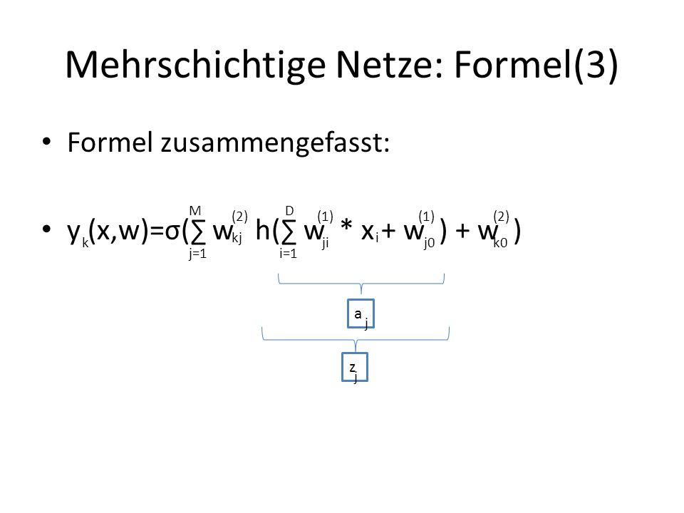 Mehrschichtige Netze: Formel(3)