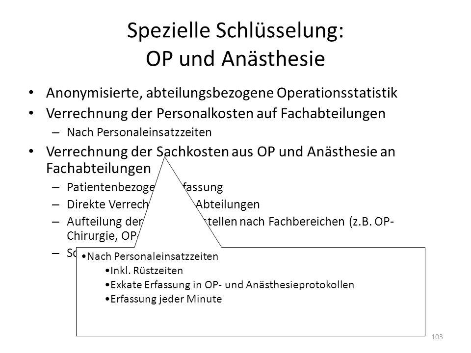 Spezielle Schlüsselung: OP und Anästhesie
