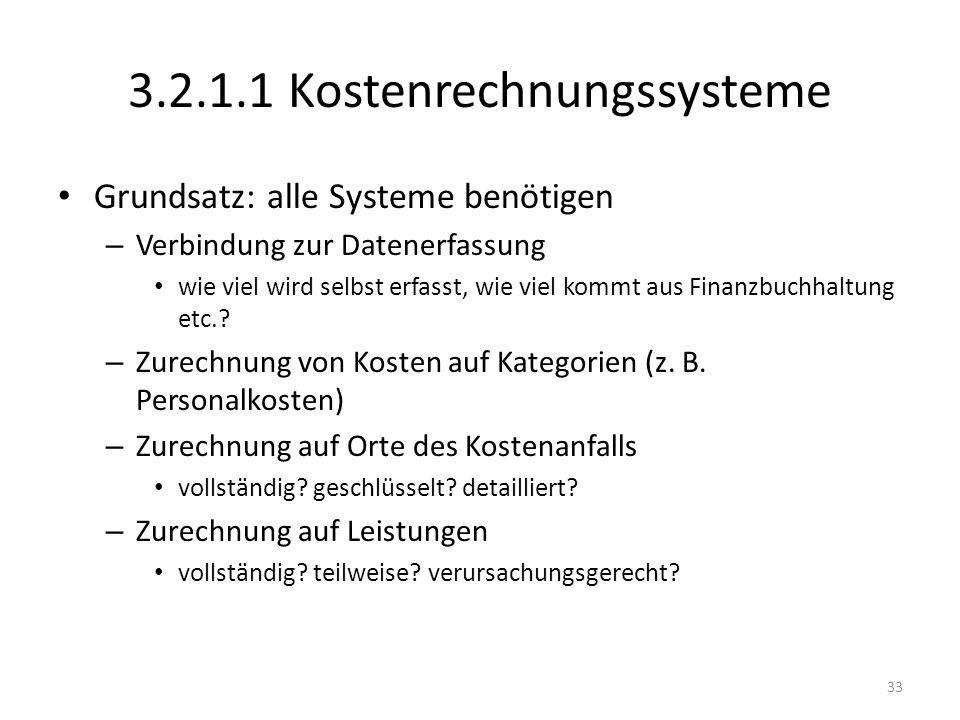 3.2.1.1 Kostenrechnungssysteme