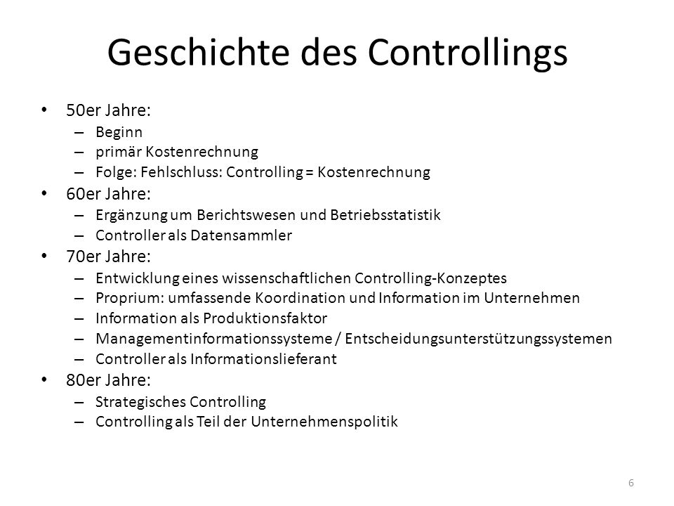 Geschichte des Controllings