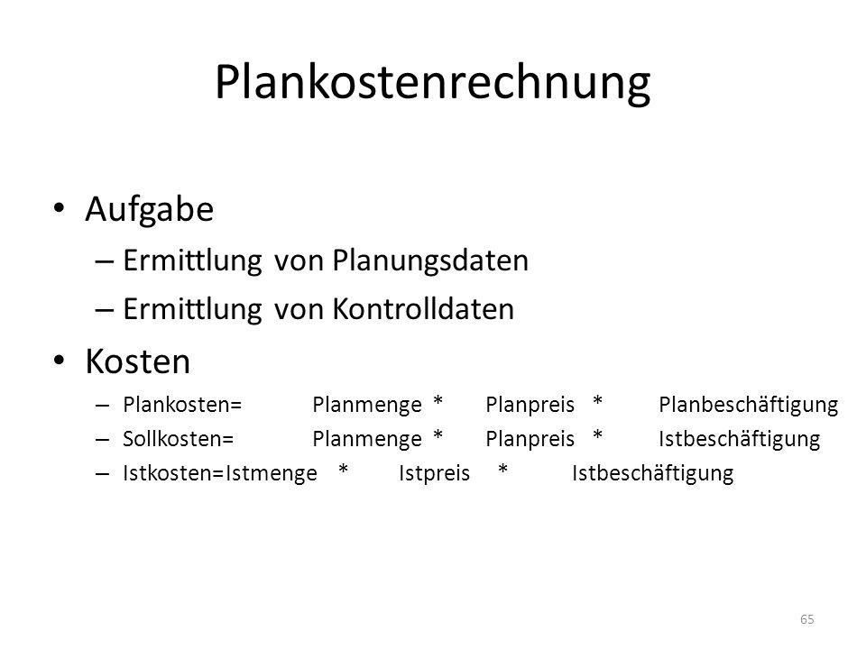 Plankostenrechnung Aufgabe Kosten Ermittlung von Planungsdaten