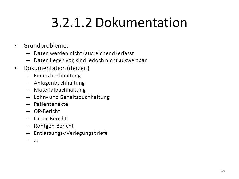 3.2.1.2 Dokumentation Grundprobleme: Dokumentation (derzeit)