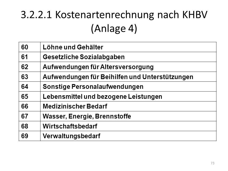 3.2.2.1 Kostenartenrechnung nach KHBV (Anlage 4)