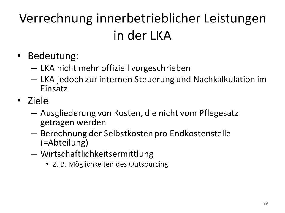 Verrechnung innerbetrieblicher Leistungen in der LKA