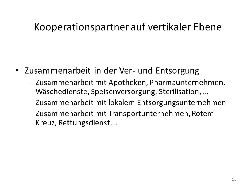 Kooperationspartner auf vertikaler Ebene
