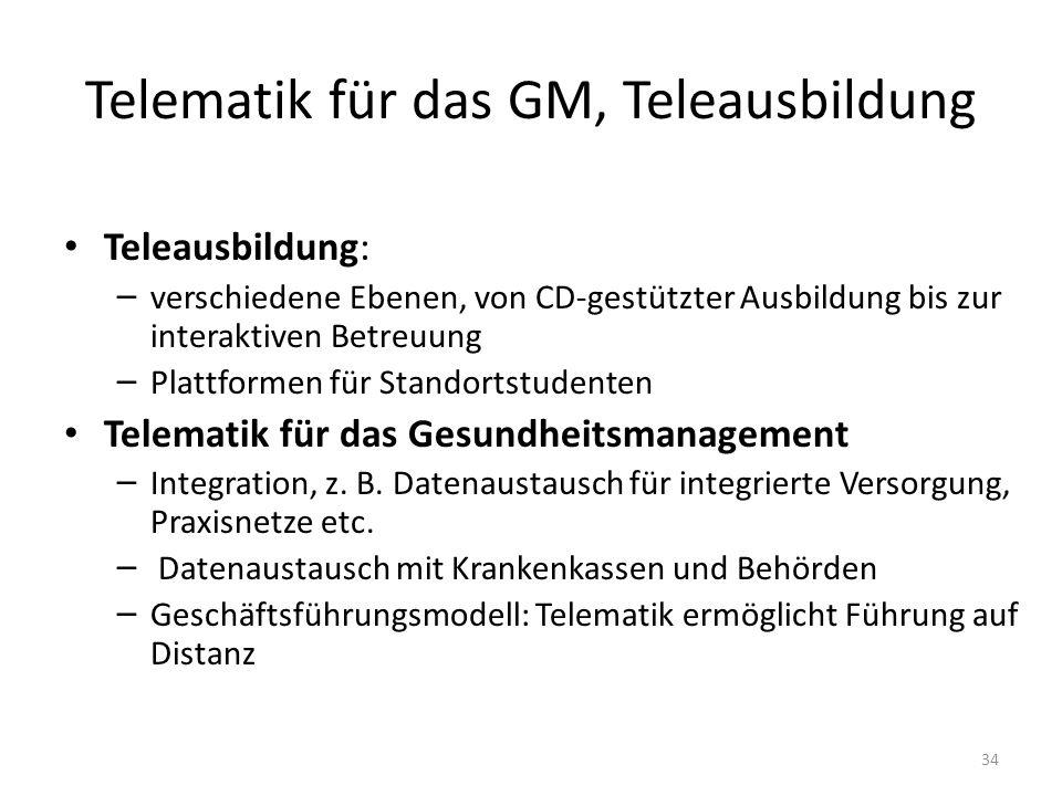 Telematik für das GM, Teleausbildung